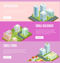modern business district isometric banners set vector image
