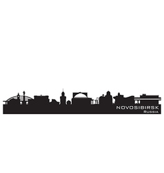 Novosibirsk Russia city skyline Detailed silhouett vector image