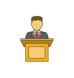 orator speaking flat line icon vector image