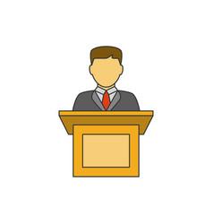 Orator speaking flat line icon vector