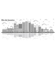 outline rio de janeiro brazil city skyline with vector image