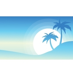 Palm and big sun landscape of silhouettes vector
