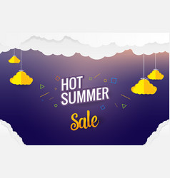 paper art hot summer sale template design vector image