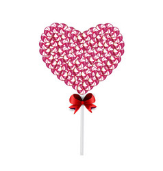 Pink and white lolipop heart made of sweets and vector