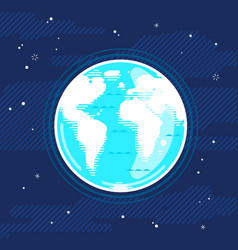 Planet earth in space in flat style vector