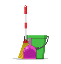 Plastic bucket dustpan and broom vector