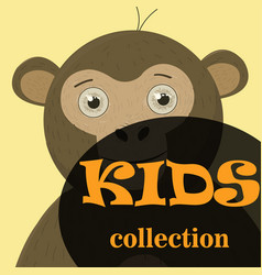 poster frame for kids with little monkeys vector image