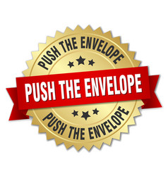 push the envelope round isolated gold badge vector image