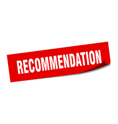 Recommendation sticker recommendation square sign vector
