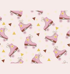 retro roller skates pattern modern trendy hipster vector image
