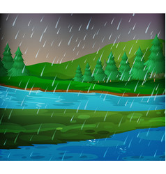 River scene on rainy day vector