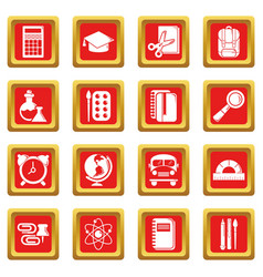 school education icons set red square vector image