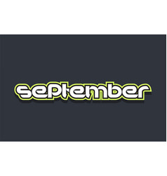 September word text logo design green blue white vector