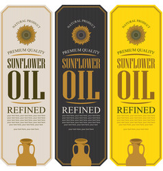Set of labels for refined sunflower oil vector
