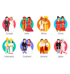 Set of wedding couples vector