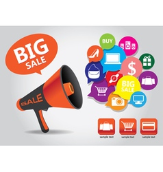 Shopping big sale megaphone vector