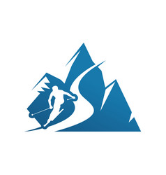 Silhoutte ice mountain and skiing person for vector