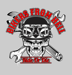skull bikers from hell hand drawingshirt vector image