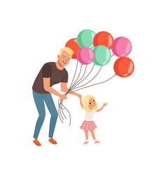 smiling father and his little daughter with bunch vector image vector image