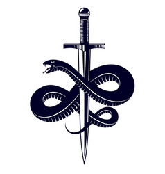 Snake and dagger serpent wraps around a sword vector