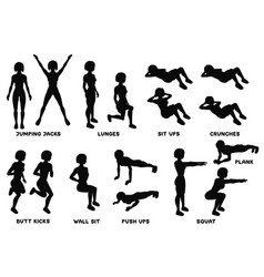 Squat sport exersice silhouettes of woman doing vector