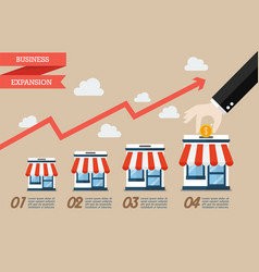 Step of hand collect the money in shop store vector