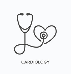 stethoscope with heart flat line icon vector image