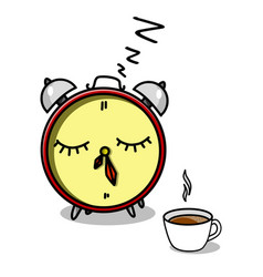 Stock alarm clock and cup of coffee vector