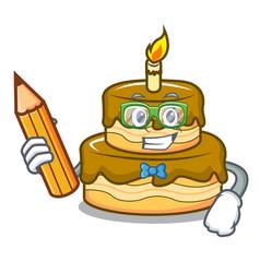 Student birthday cake character cartoon vector