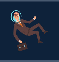 successful businessman in brown suit and astronaut vector image