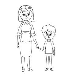 Teacher and young boy student vector