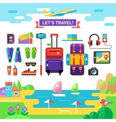 Traveling template Vocations accessories Flat vector image