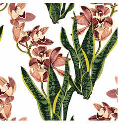 tropical beautiful flowers pretty pattern s vector image