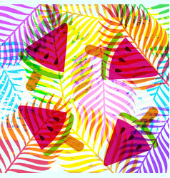 tropical summer jungle fruit leaf abstract art vector image