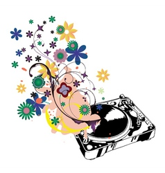 Turntable with floral vector