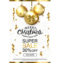 White luxury christmas sale background with golden vector