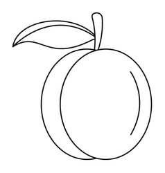 whole peach icon outline style vector image