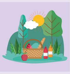 wicker basket food sauces in park vector image