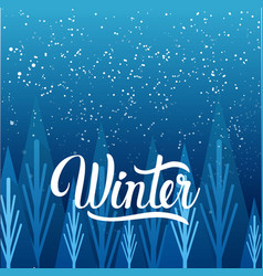 Winter calligraphy over shilhouette forest blue vector