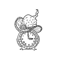 witch hat and clock halloween doodles isolated vector image