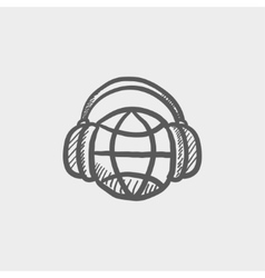 World music sketch icon vector