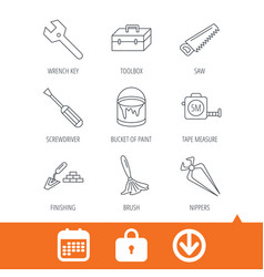 Wrench key screwdriver and paint brush icons vector