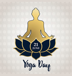 yoga day card gold people in lotus pose vector image
