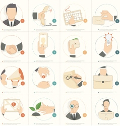 Business man concept icons vector image vector image
