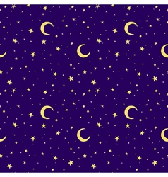 Golden yellow moon and stars sky print seamless vector
