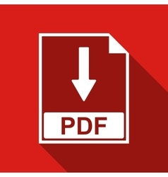 PDF file document flat icon with long shadow vector image vector image