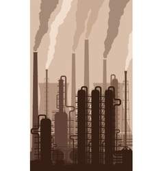 Oil refinery silhouette with smoking chimneys vector image vector image