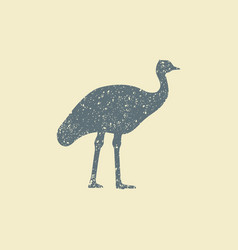 ostrich icon flat silhouette vector image vector image