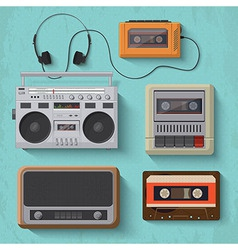 Retro music player icon set 2 vector image