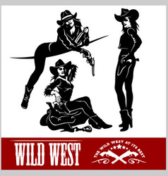 silhouettes of western cowgirls vector image vector image